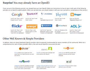 OpenID Sites & Providers